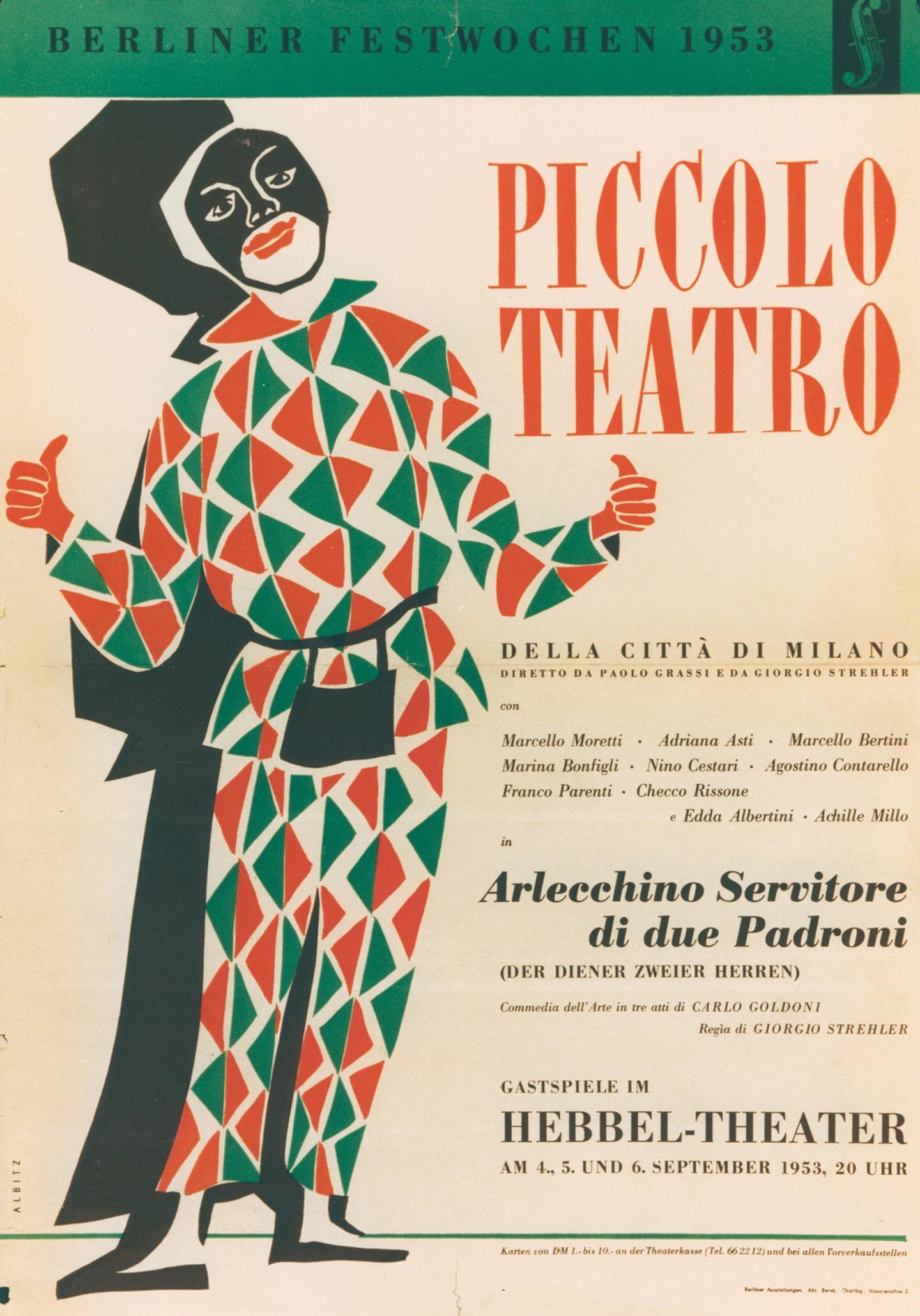 Berlino, 4 settembre 1953 - Archivio Piccolo Teatro di Milano